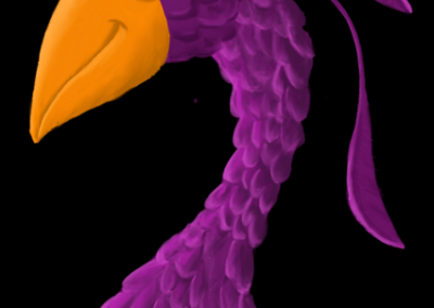 Purple Bird with Feathers 2